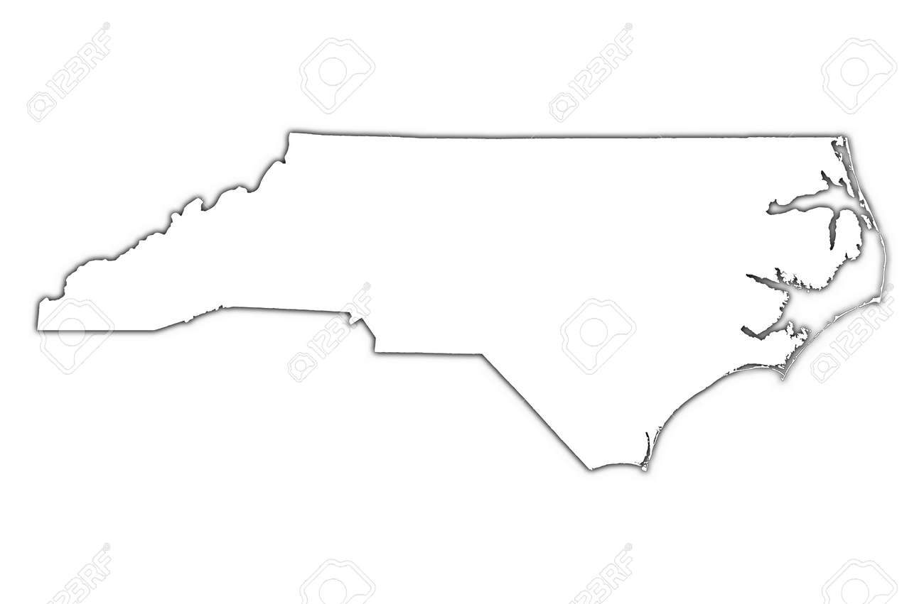 North Carolina (USA) outline map with shadow. Detailed, Mercator projection. Stock Photo - 2229741