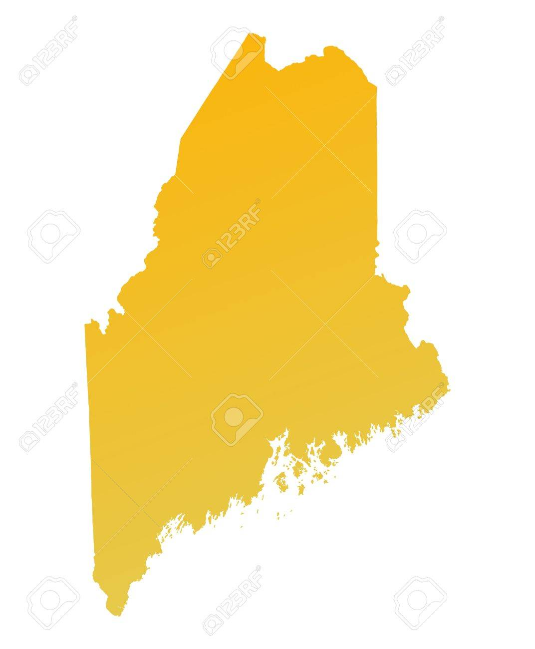 Maine Map Usa.Orange Gradient Maine Map Usa Detailed Mercator Projection Stock