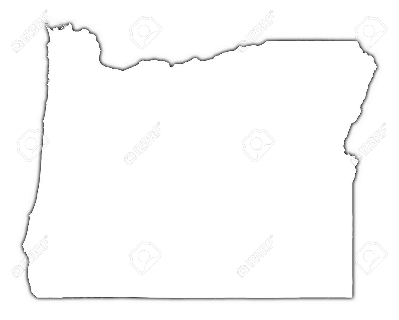 Oregon Usa Outline Map With Shadow Detailed Mercator Us Map Mercator