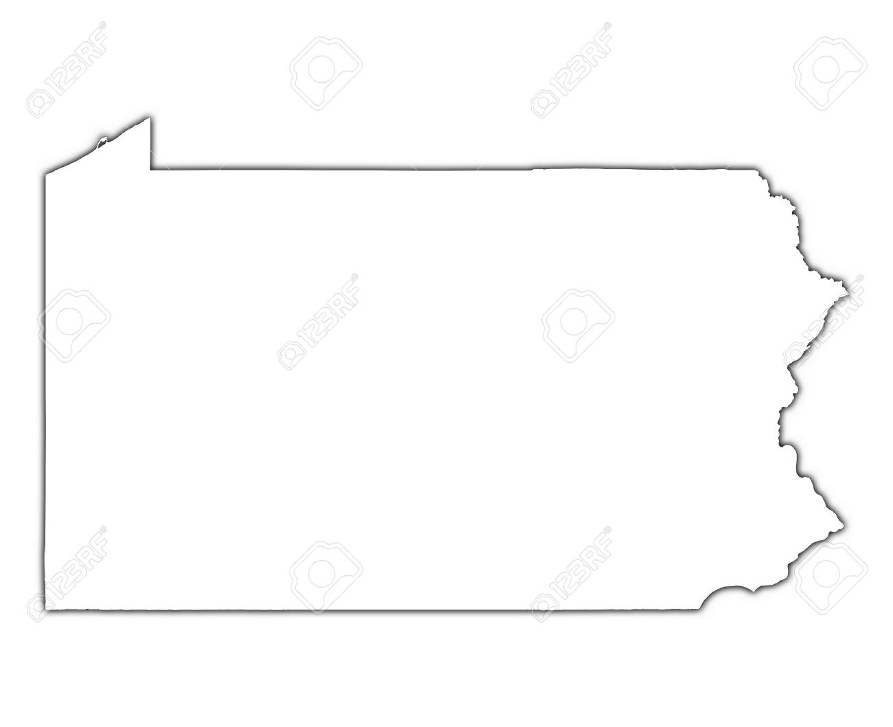 Pennsylvania USA Outline Map With Shadow Detailed Mercator - Pennsylvania in usa map