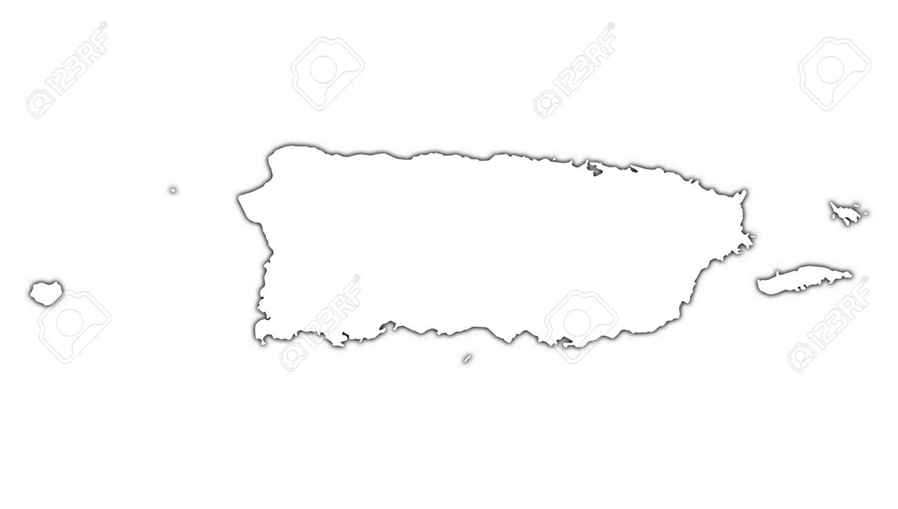 Puerto Rico Outline Map With Shadow Detailed Mercator Projection