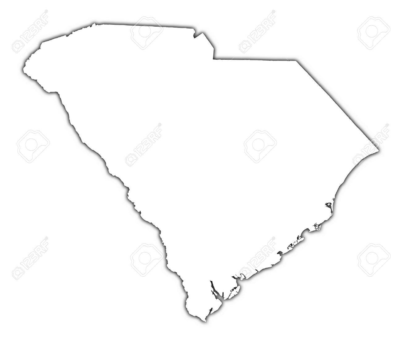 South Carolina Usa Outline Map With Shadow Detailed Mercator