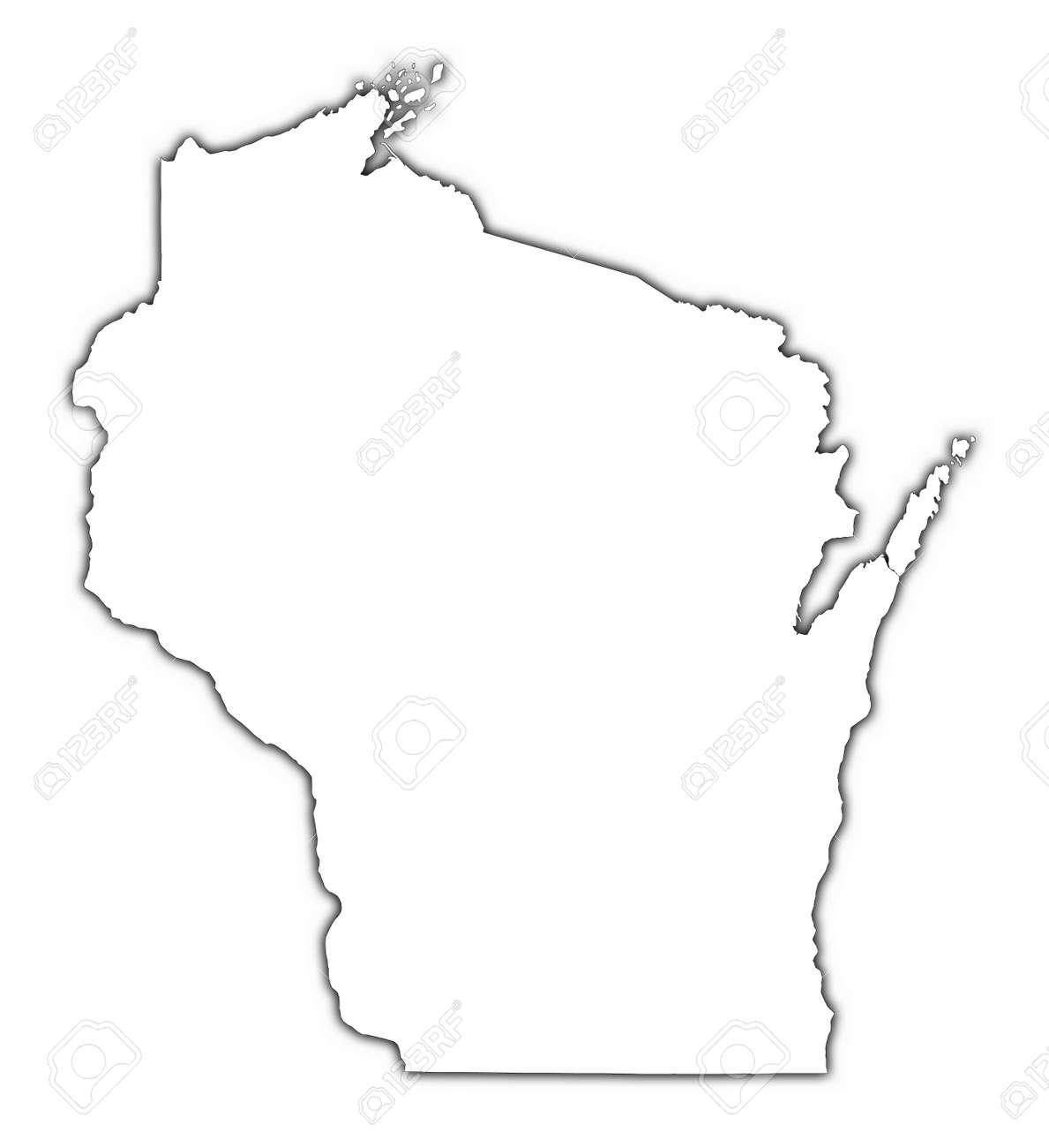 Wisconsin USA Outline Map With Shadow Detailed Mercator - Wisconsin map usa