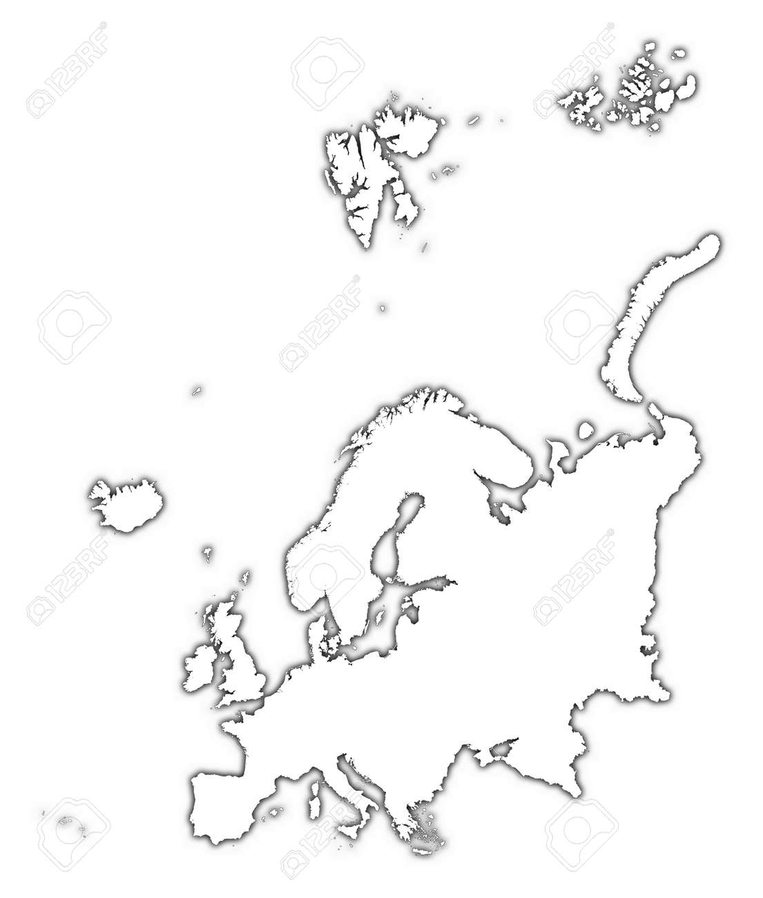 Europe Outline Map With Shadow Detailed Mercator Projection Stock