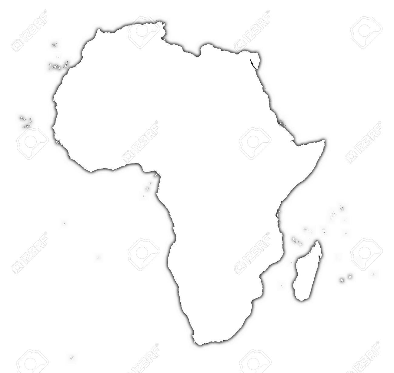 Map Of Africa Outline.Africa Outline Map With Shadow Detailed Mercator Projection