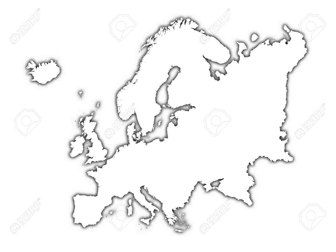 europe outline map with shadow detailed mercator projection