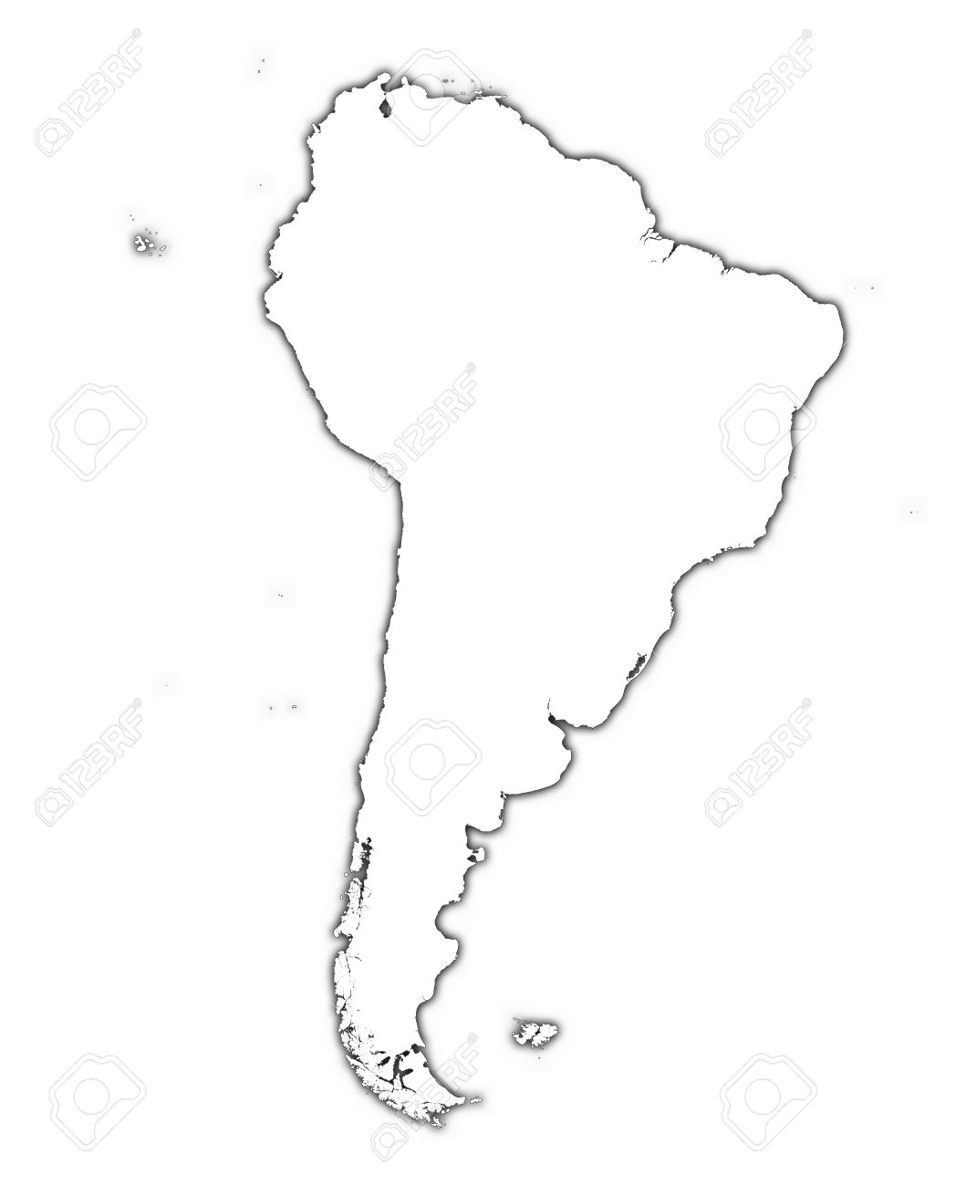 South America Outline Map With Shadow. Detailed, Mercator Projection ...