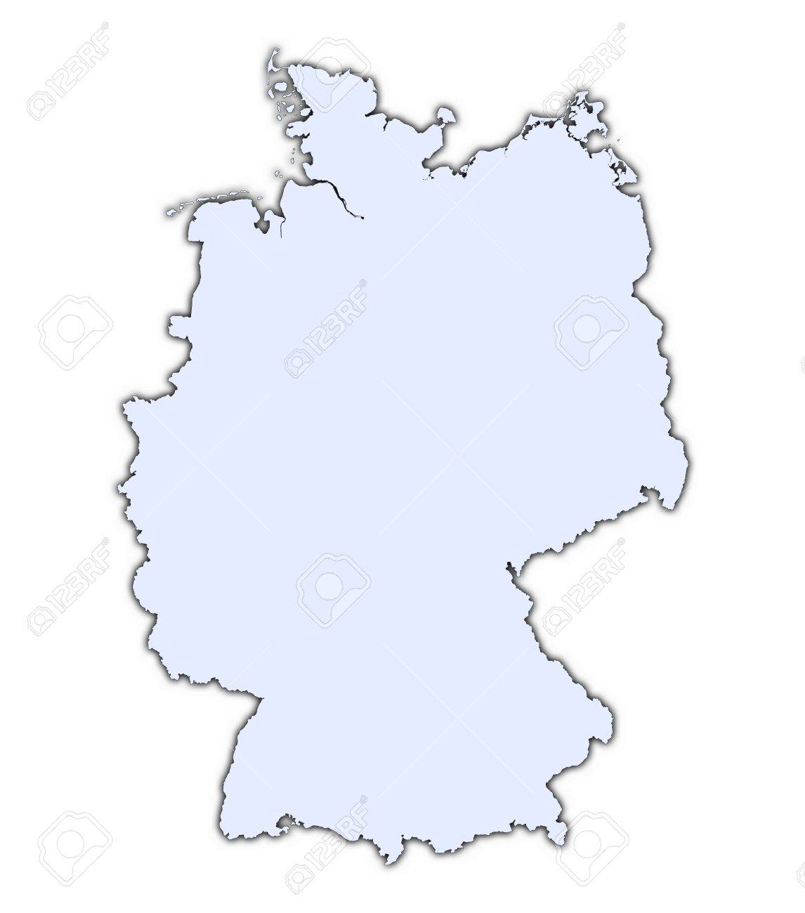 Germany Light Blue Map With Shadow High Resolution Mercator - Germany map high resolution