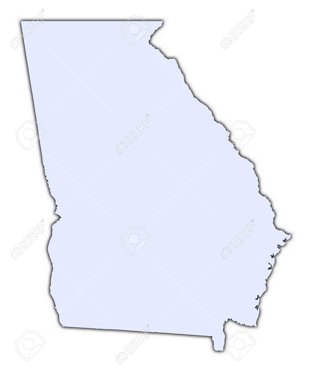 Georgia USA Light Blue Map With Shadow High Resolution – Map Usa Georgia