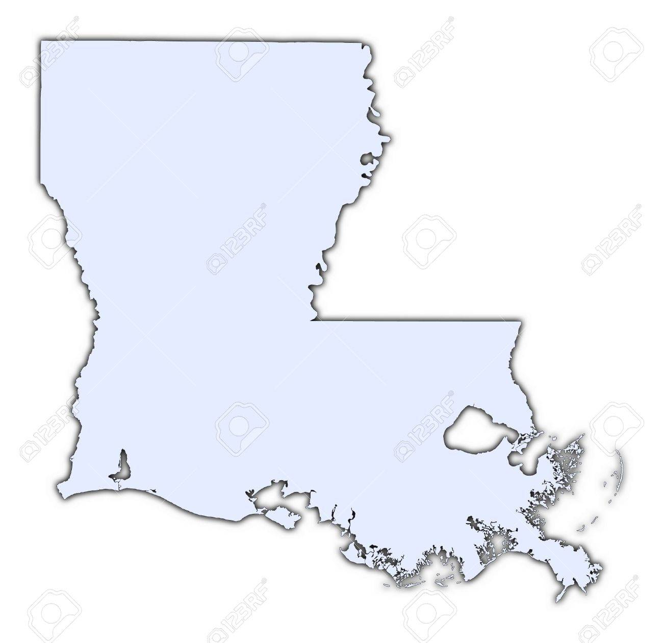 Louisiana Usa Light Blue Map With Shadow High Resolution Mercator Projection