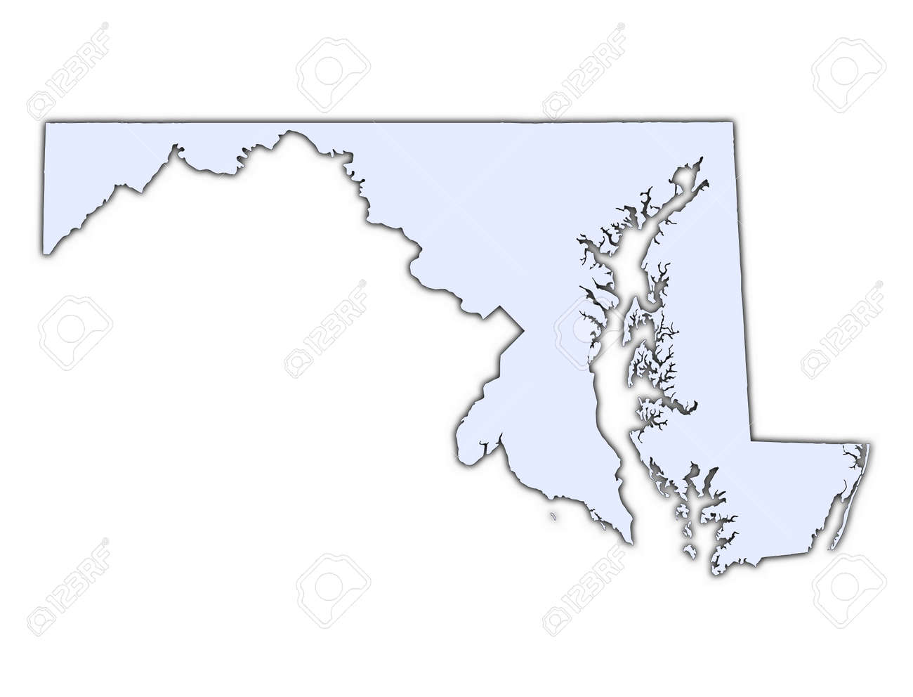 Maryland USA Light Blue Map With Shadow High Resolution - Map of maryland usa