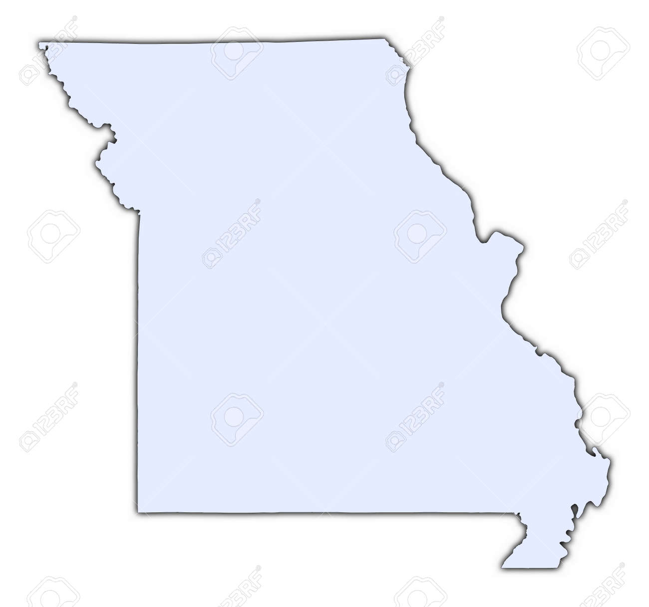 Missouri USA Light Blue Map With Shadow High Resolution – Map Usa High Resolution