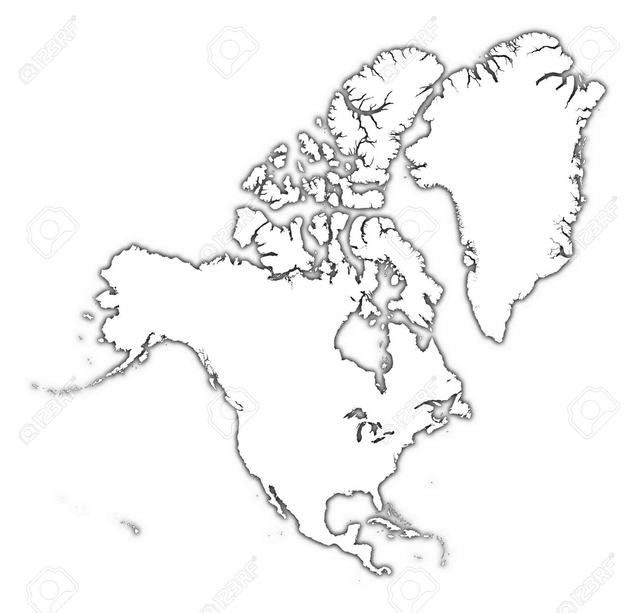 North America Outline Map With Shadow. Detailed, Mercator Projection ...