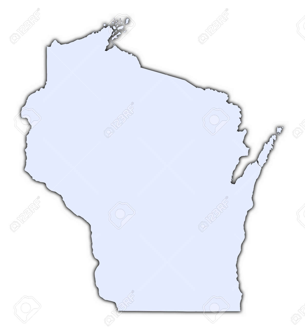 Wisconsin USA Light Blue Map With Shadow High Resolution – Map Usa High Resolution