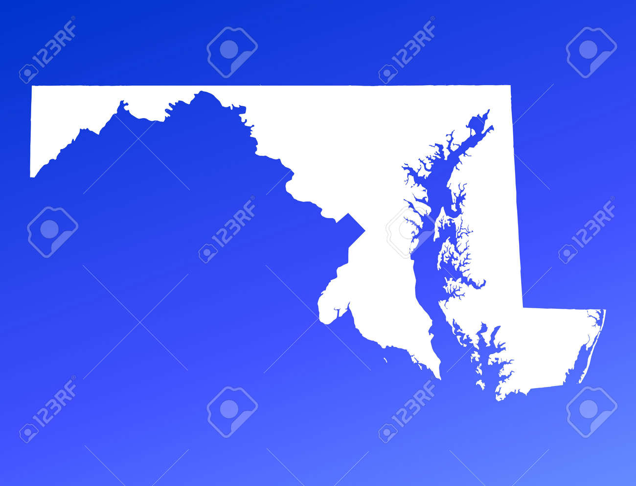 Marylandusa Map On Blue Gradient Background High Resolution Where Is Maryland In Usa Map