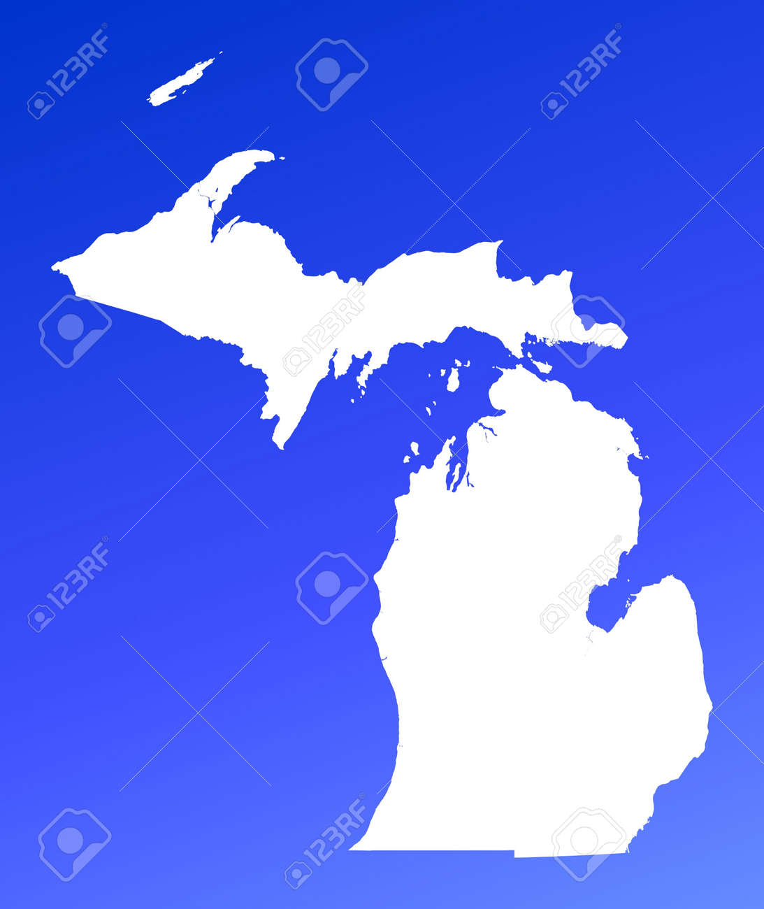MichiganUSA Map On Blue Gradient Background High Resolution - Michigan in usa map