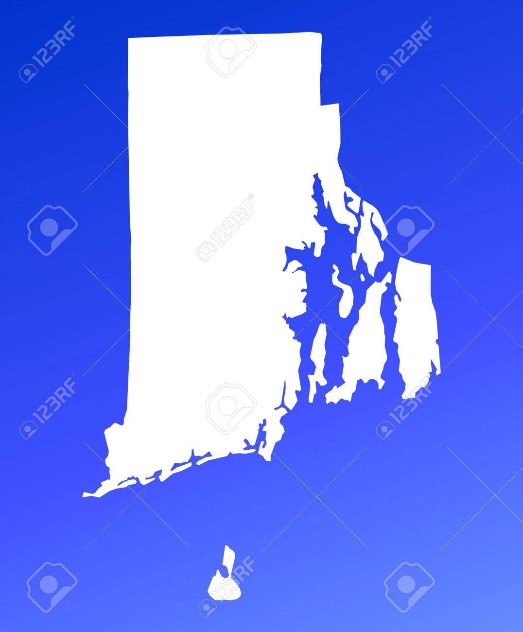 Rhode IslandUSA Map On Blue Gradient Background High Resolution - Rhode island in usa map