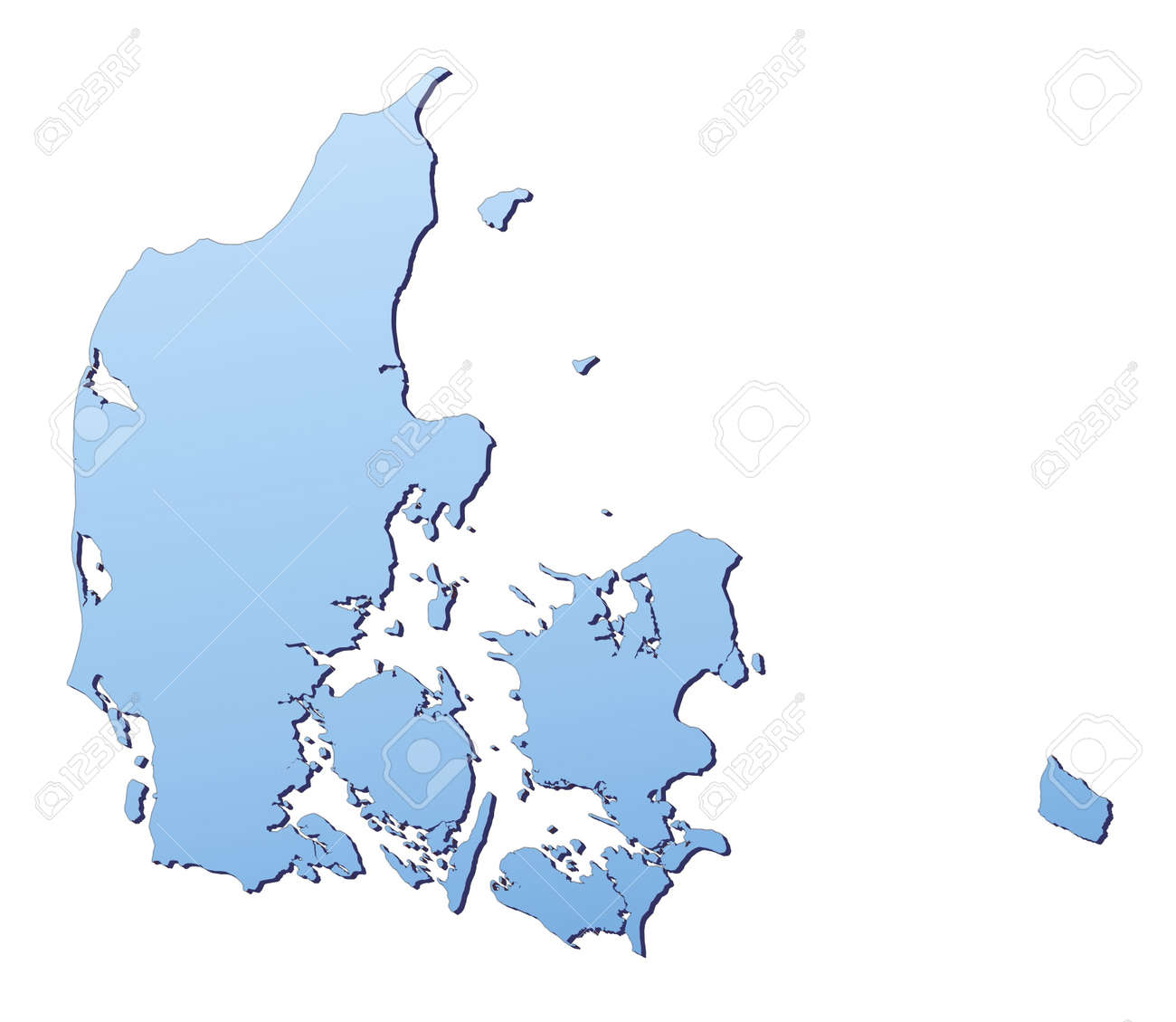 denmark map filled with light blue gradient high resolution