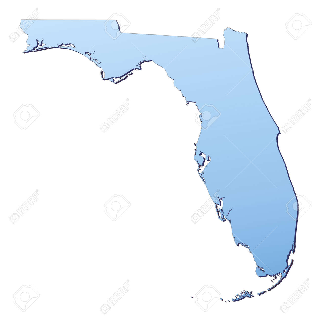 FloridaUSA Map Filled With Light Blue Gradient High Resolution - Usa map high resolution