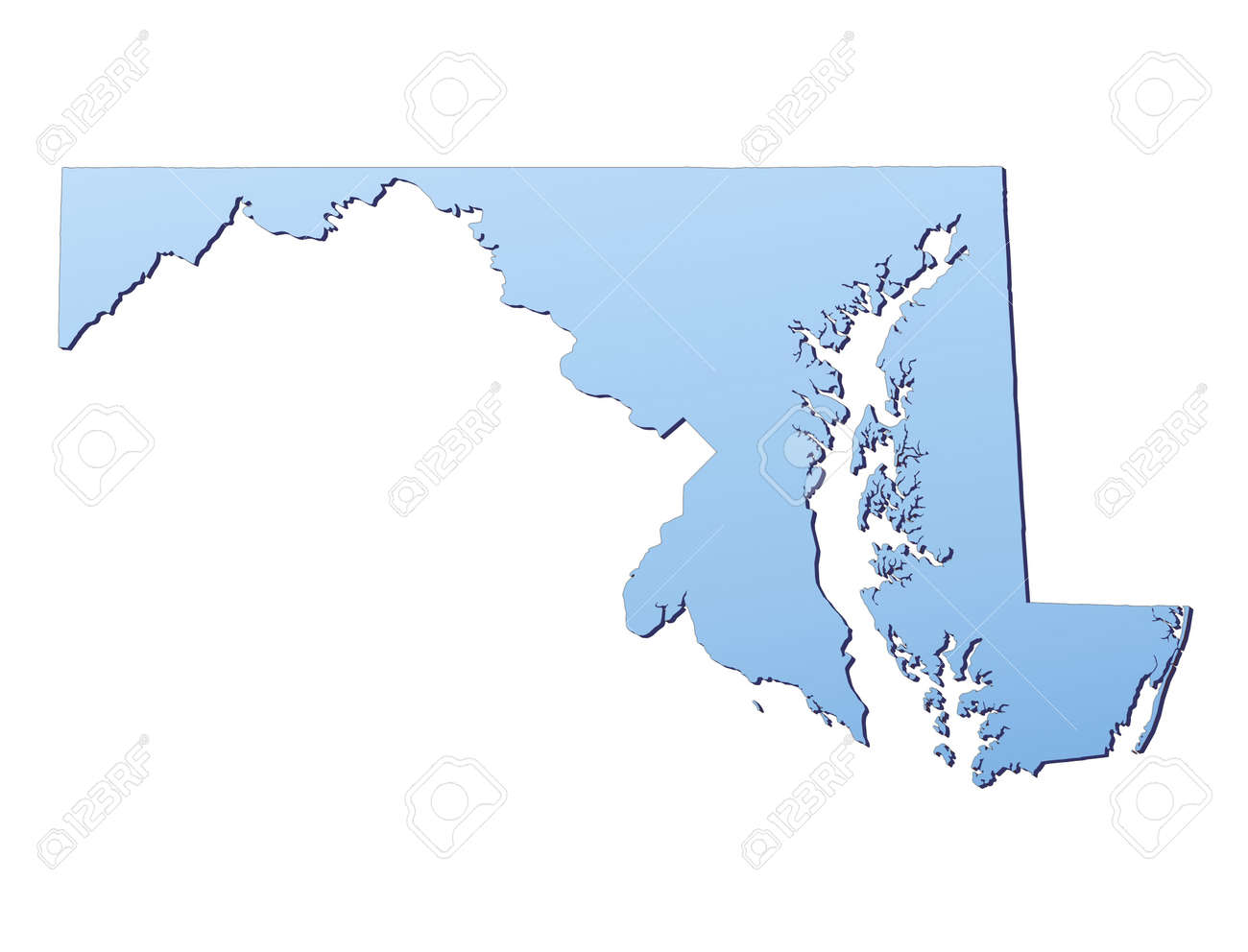MarylandUSA Map Filled With Light Blue Gradient High Resolution - Maryland usa map
