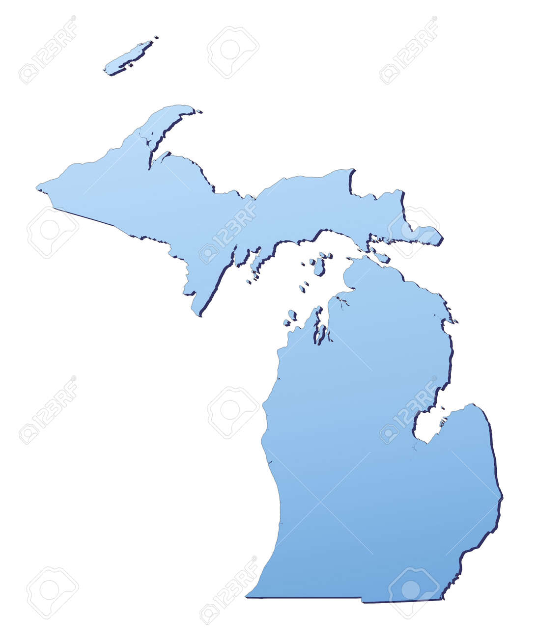 Michiganusa Map Filled With Light Blue Gradient High Resolution Map Of Usa Michigan