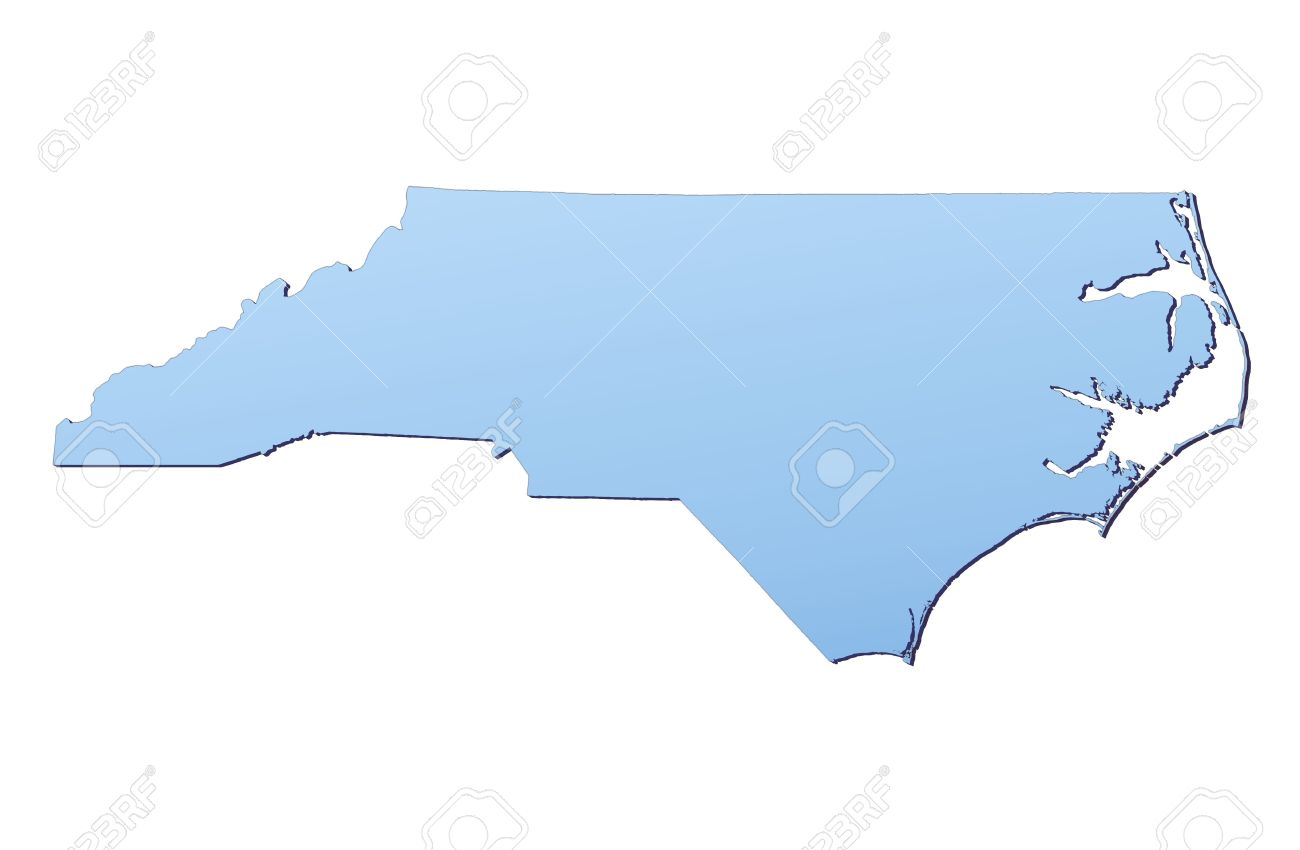 North Carolina(USA) map filled with light blue gradient. High..