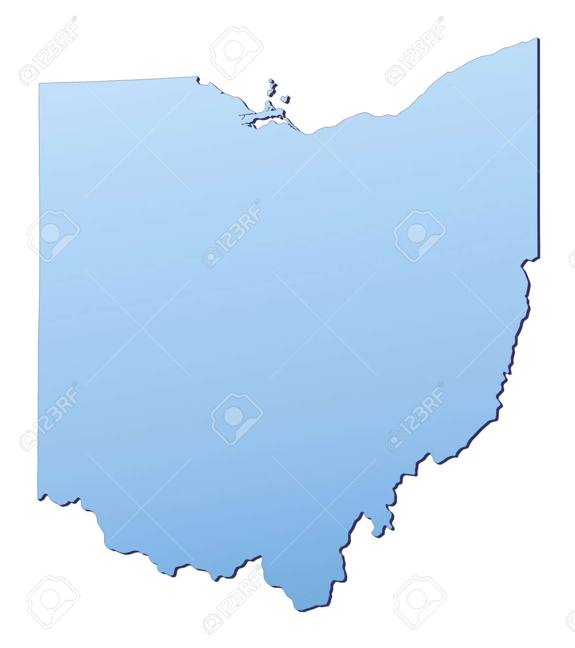 OhioUSA Map Filled With Light Blue Gradient High Resolution - Usa map high resolution