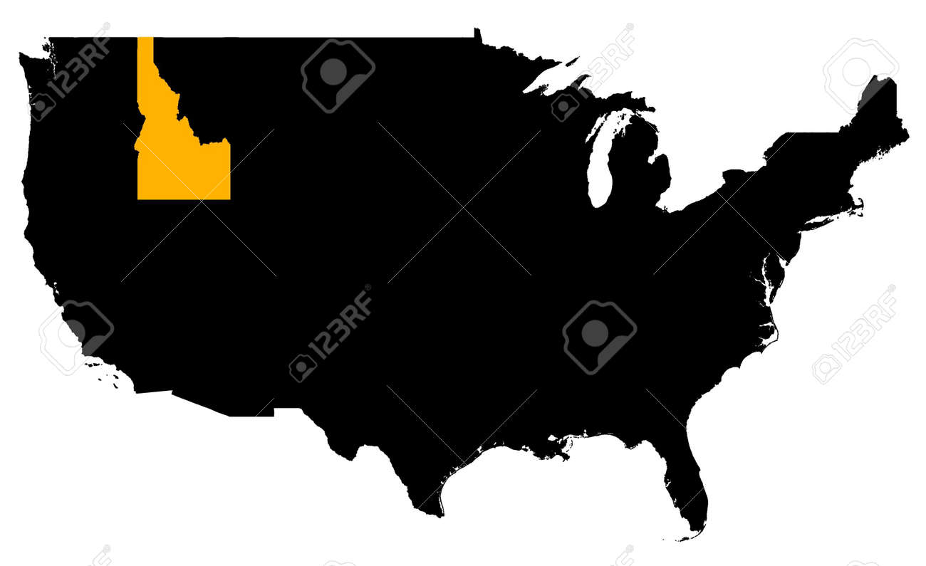 Idaho Location Map USA High Resolution Mercator Projection - Usa location