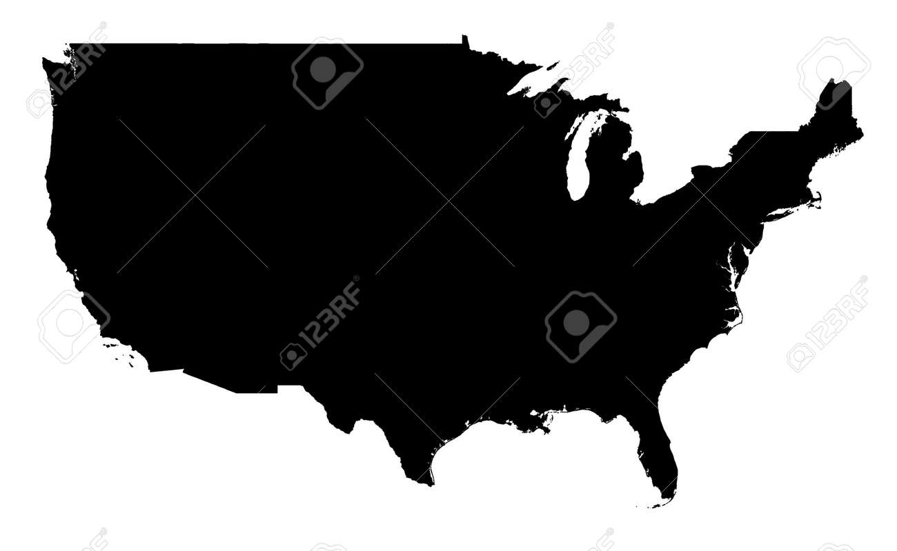 Detailed Isolated Map Of United States Black And White Mercator – Map Usa Black and White