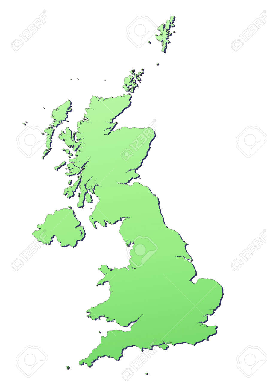 United Kingdom map filled with light green gradient. High resolution. Mercator projection. Stock Photo - 2580131