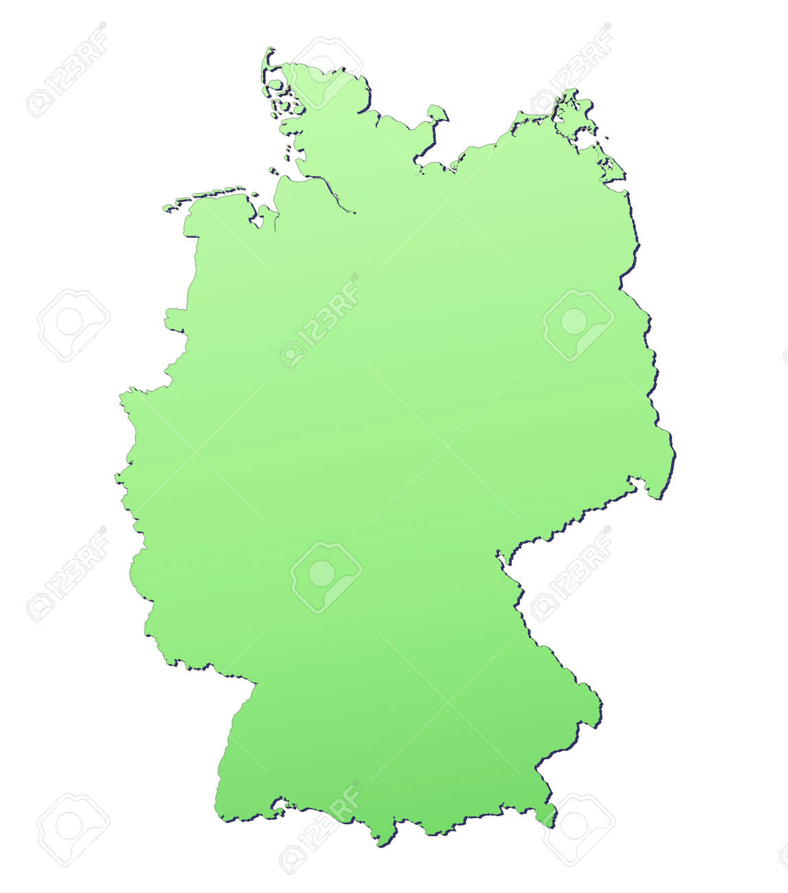 Germany Map Filled With Light Green Gradient High Resolution - Germany map high resolution