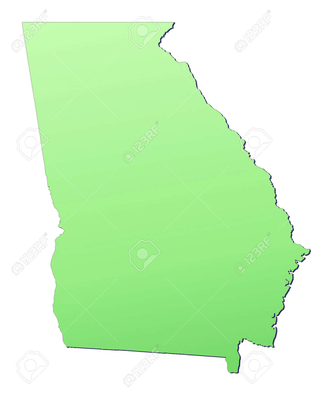 Georgia USA Map Filled With Light Green Gradient High - Free high resolution us map