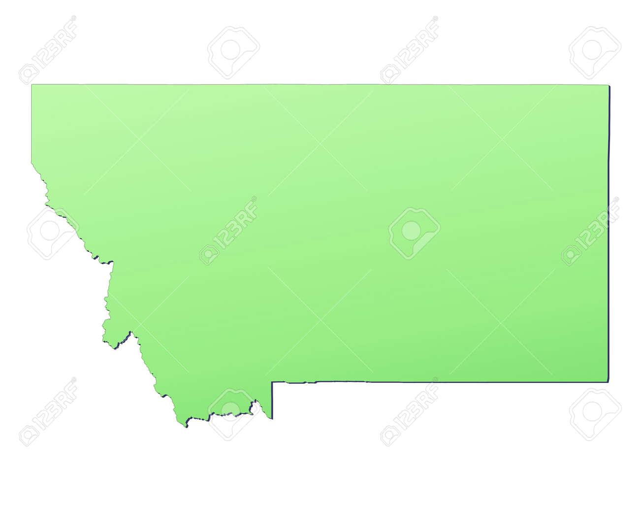 Montana USA Map Filled With Light Green Gradient High - Montana usa map