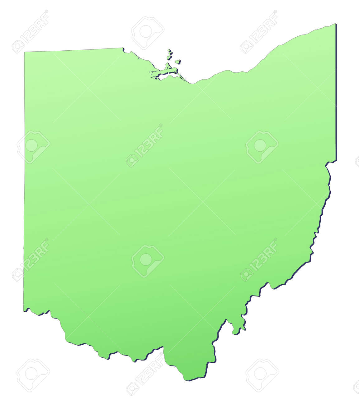 Ohio Usa Map Filled With Light Green Gradient High Resolution Ohio On Usa Map