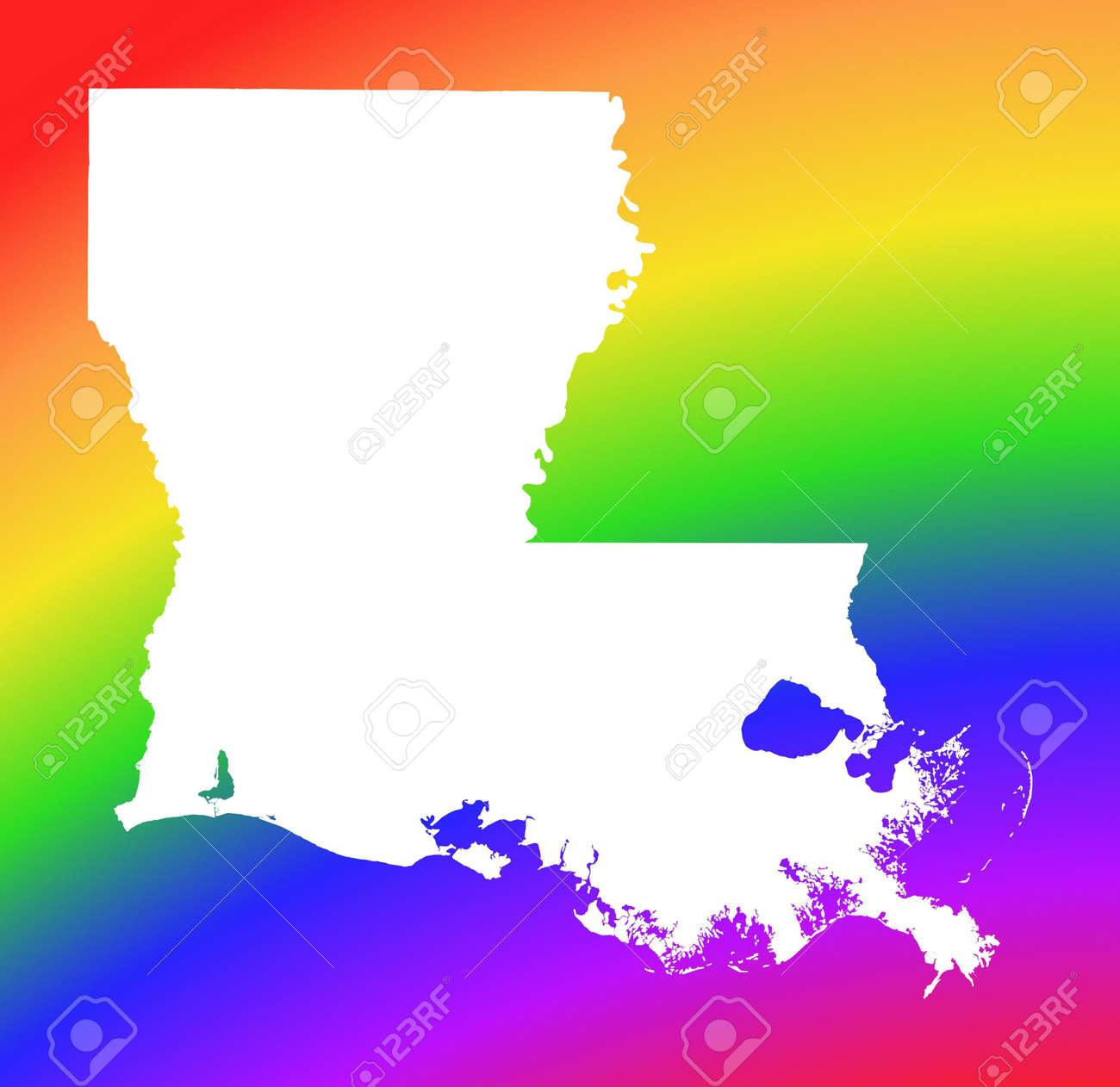 Louisiana Usa Map On Rainbow Background High Resolution Mercator