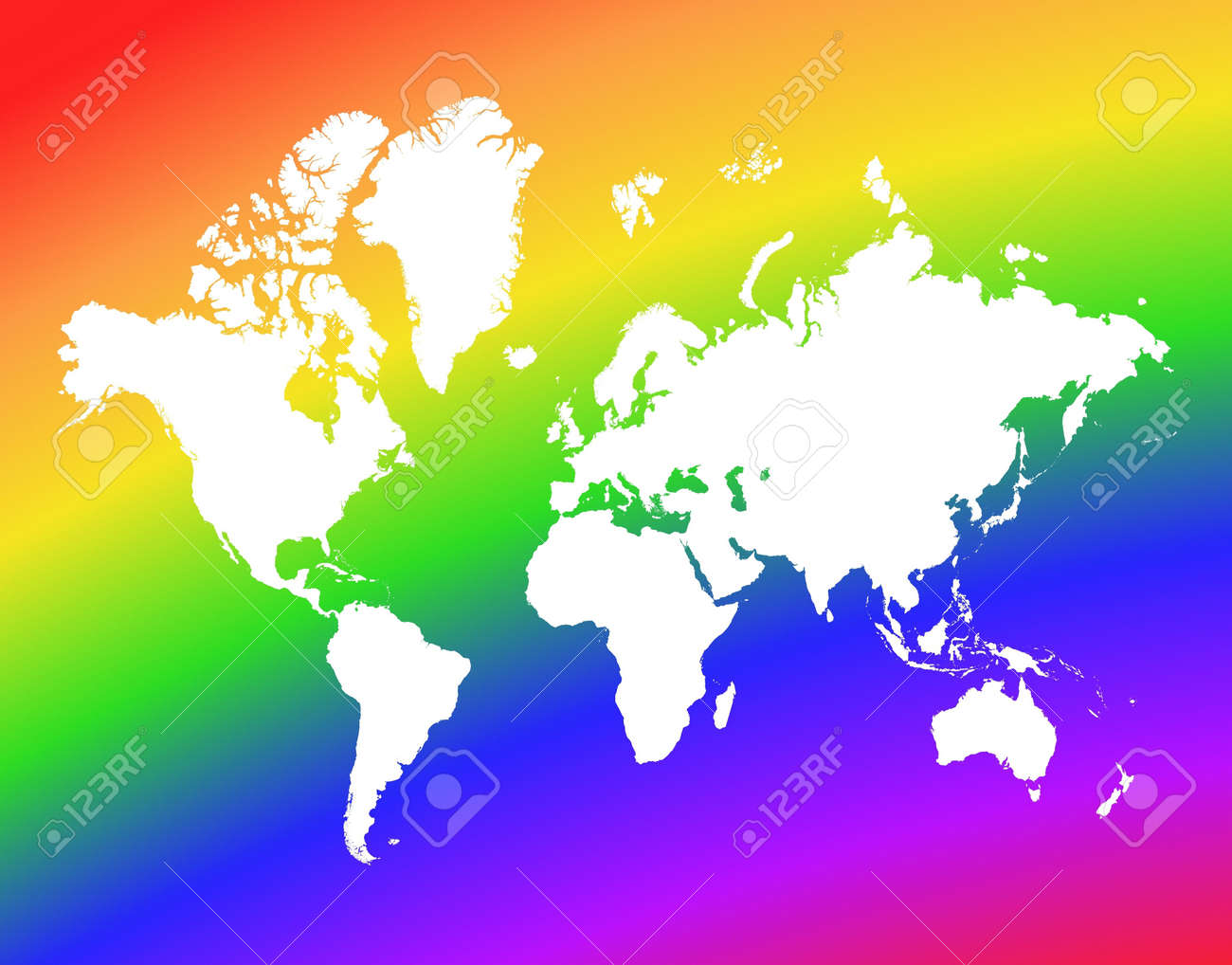World Map On Rainbow Background. High Resolution. Mercator ...