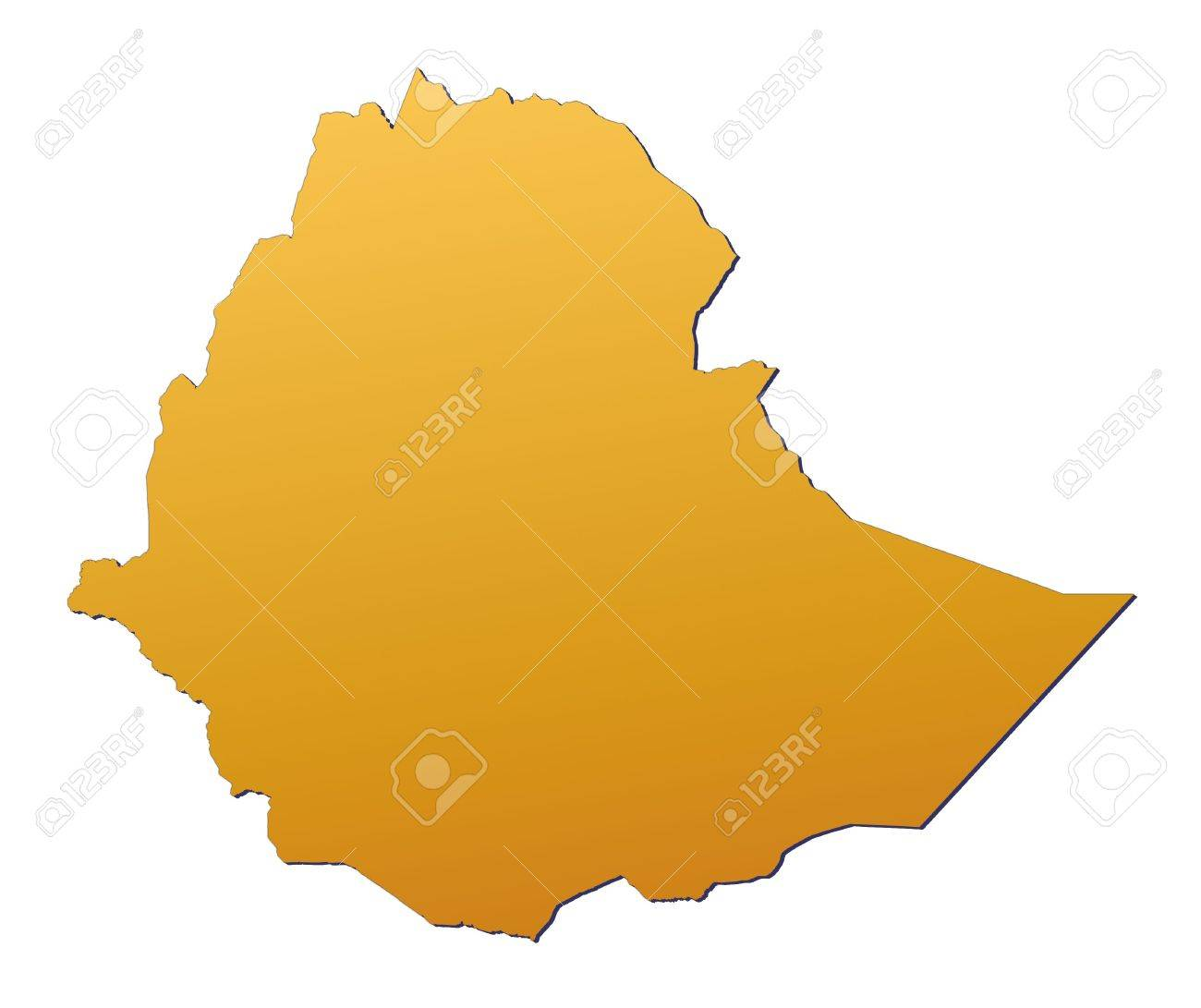 Ethiopia map filled with orange gradient. Mercator projection. Stock Photo - 2750626