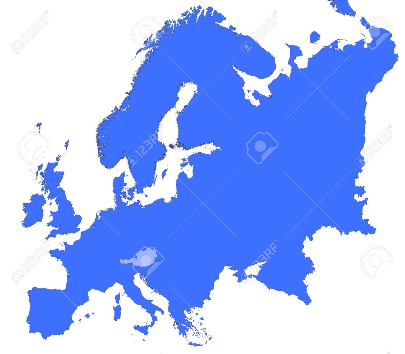 Austria Location In Europe Map Mercator Projection Stock Photo - Austria location in europe