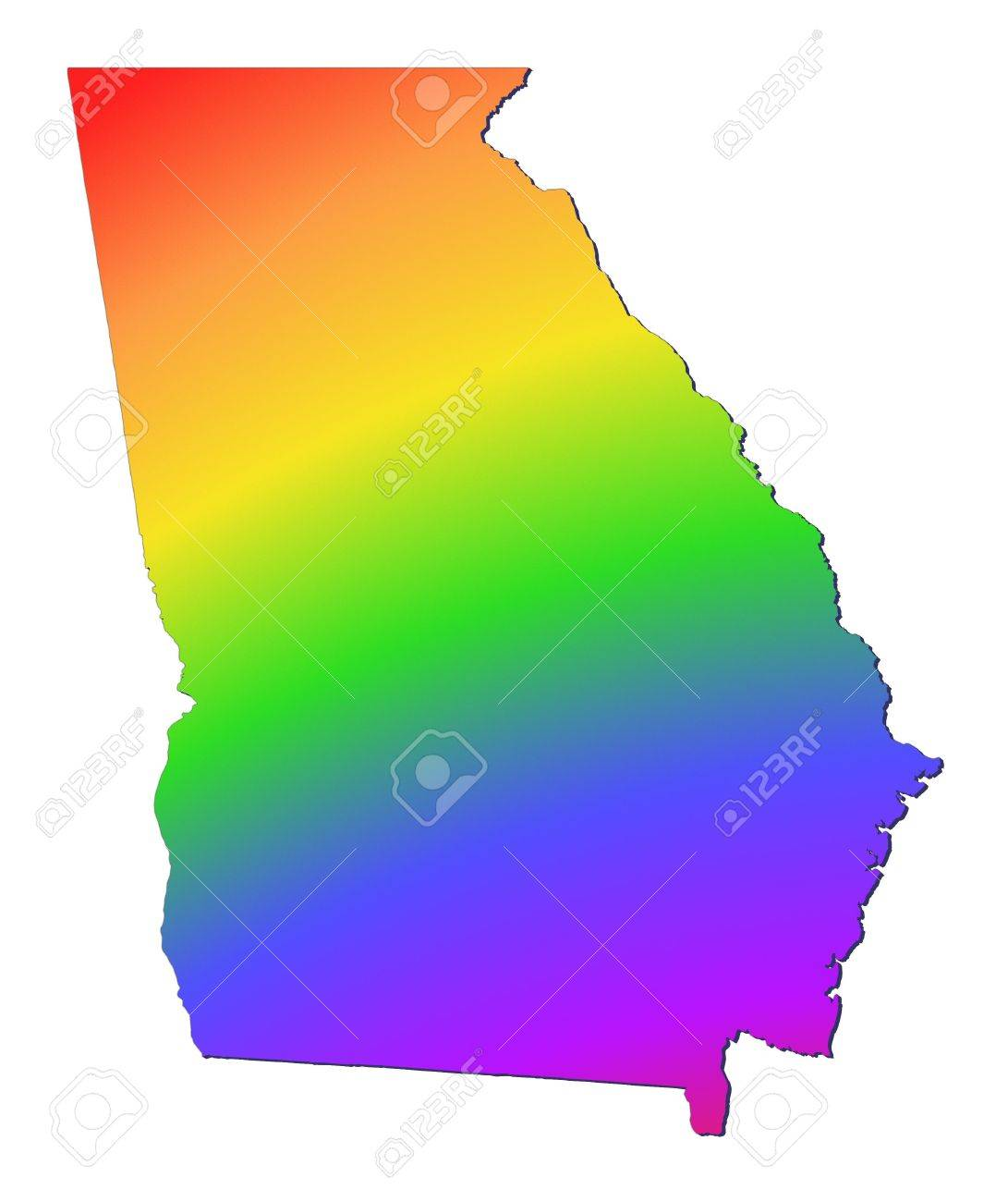 Georgia USA Map Filled With Rainbow Gradient Mercator - Ga usa map