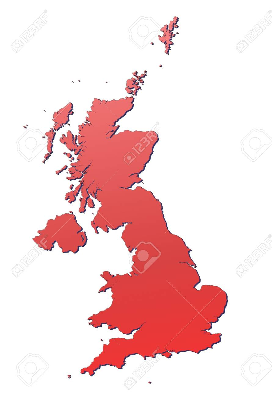 United Kingdom map filled with red gradient. Mercator projection. Stock Photo - 2914445