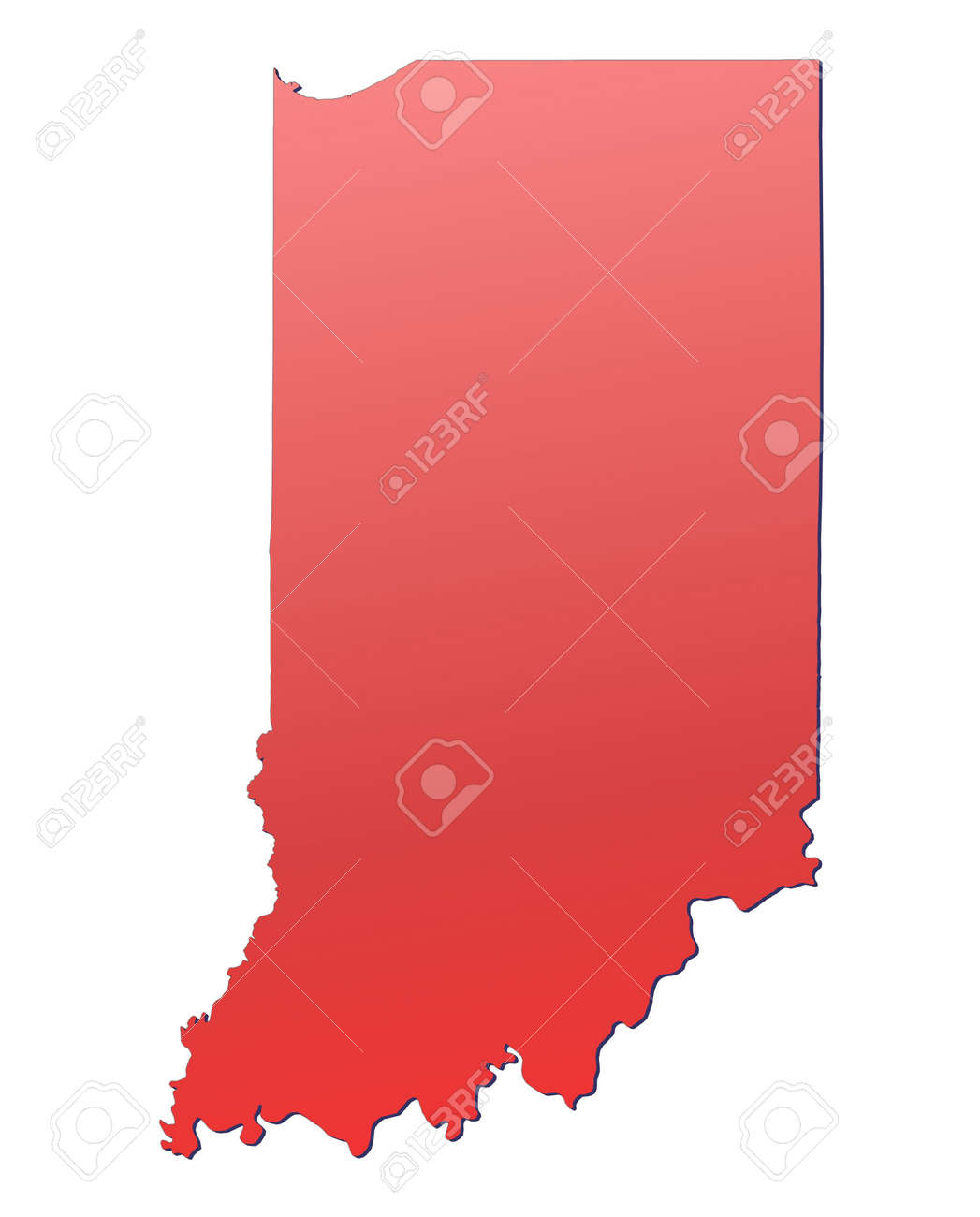 Indiana USA Map Filled With Red Gradient Mercator Projection - Indiana on a map of the usa