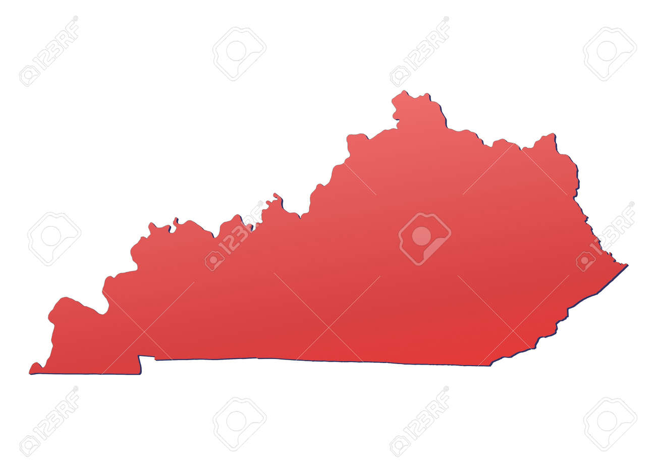 Kentucky USA Map Filled With Red Gradient Mercator Projection - Kentucky on usa map