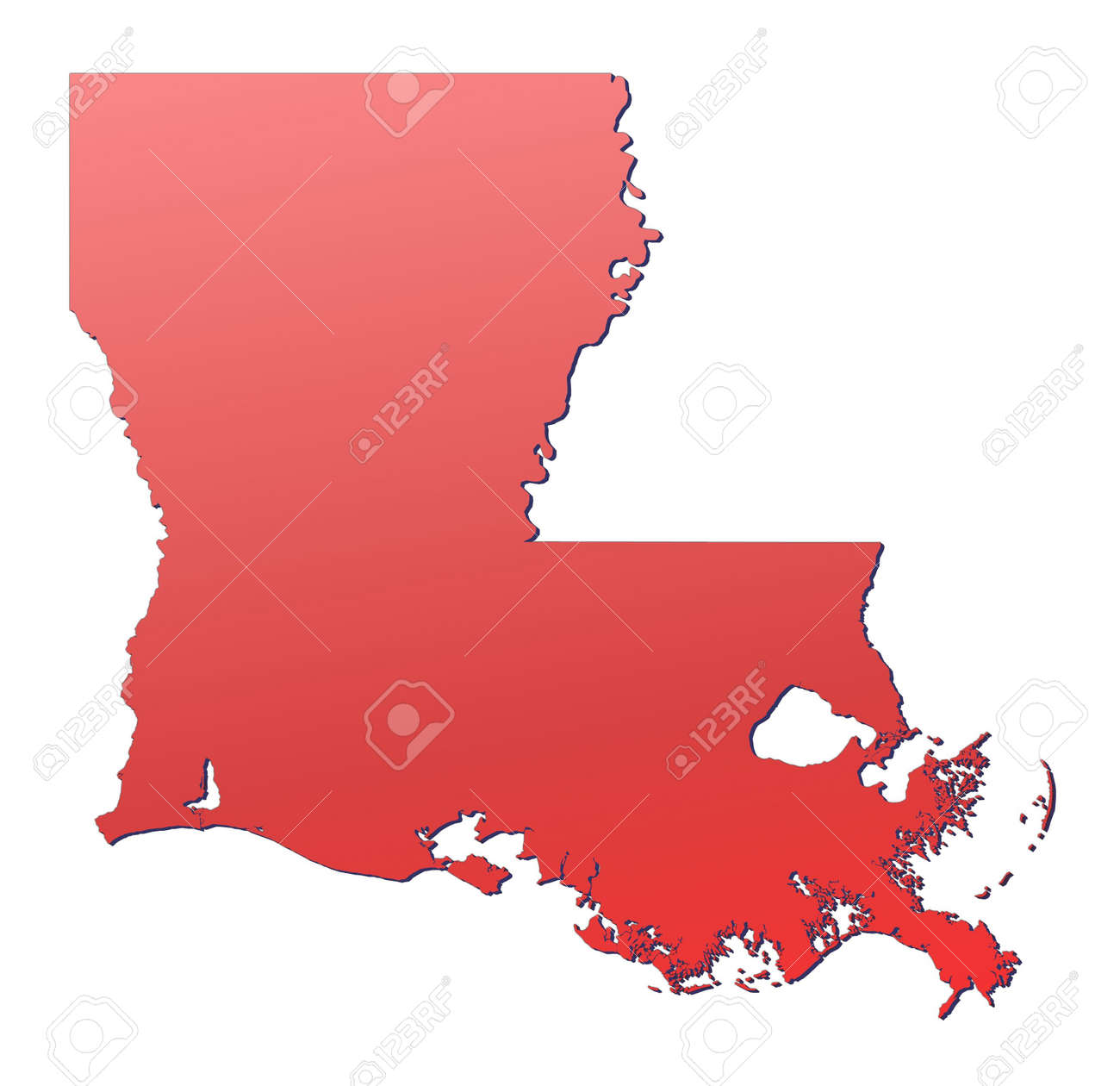 Louisiana Usa Map Filled With Red Gradient Mercator Projection