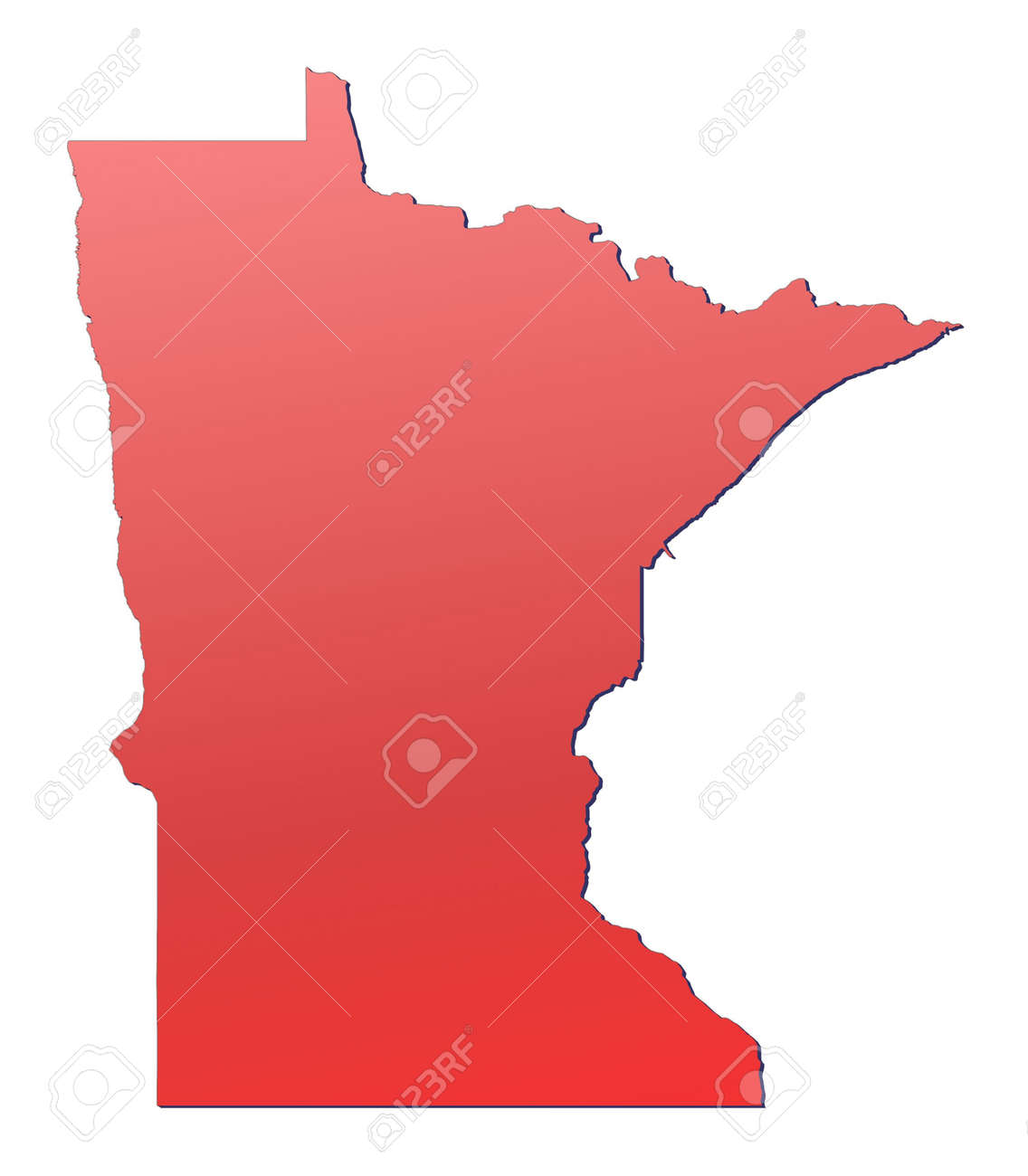 Minnesota USA Map Filled With Red Gradient Mercator Projection - Minnesota usa map