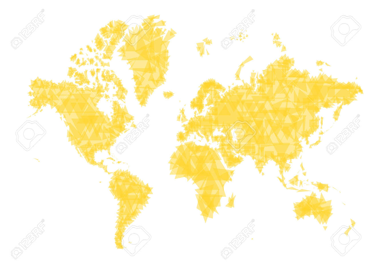 Abstract Yellow World Map. Made From Triangles. Stock Photo