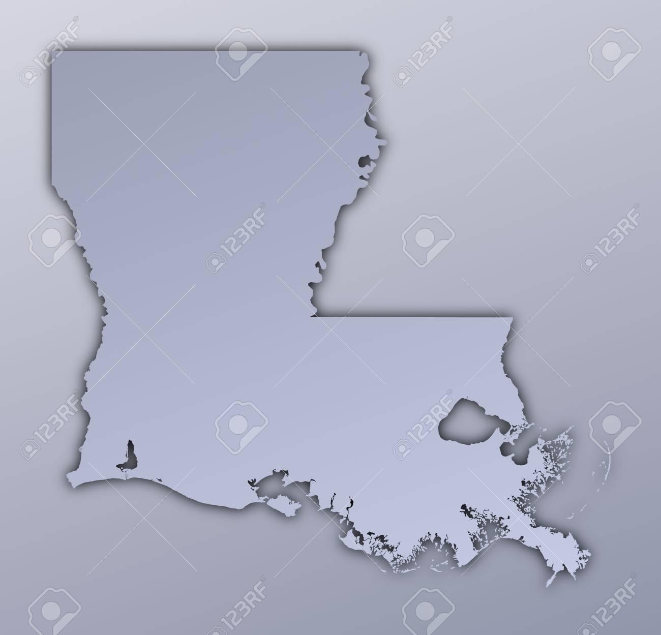 Louisiana Usa Map Filled With Metallic Gradient Mercator