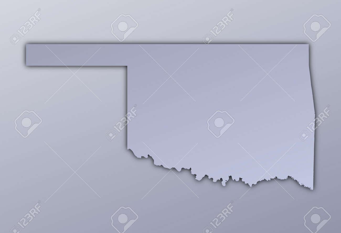 Oklahoma Usa Map Filled With Metallic Gradient Mercator