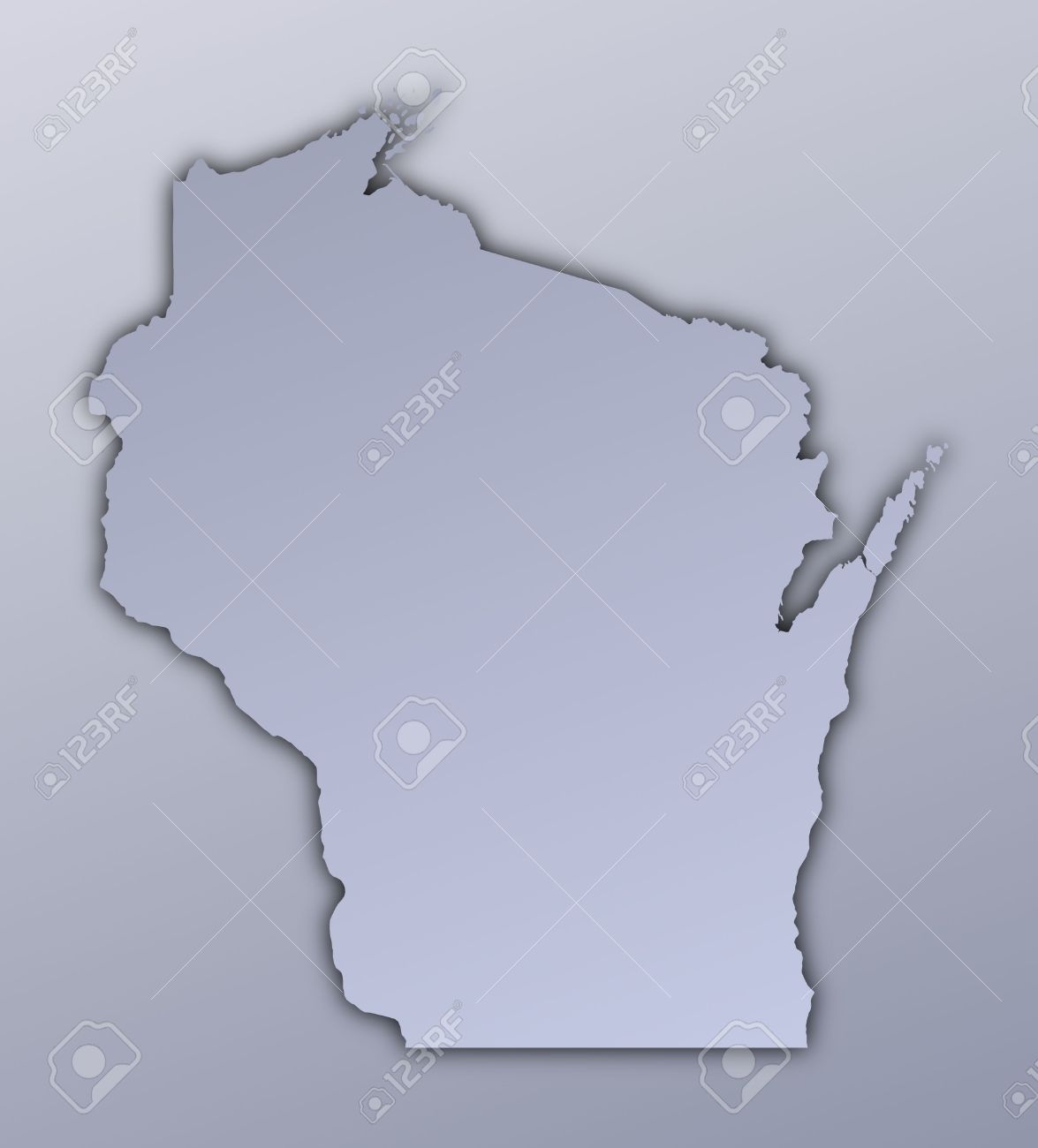 Wisconsin (USA) Map Filled With Metallic Gradient. Mercator ...