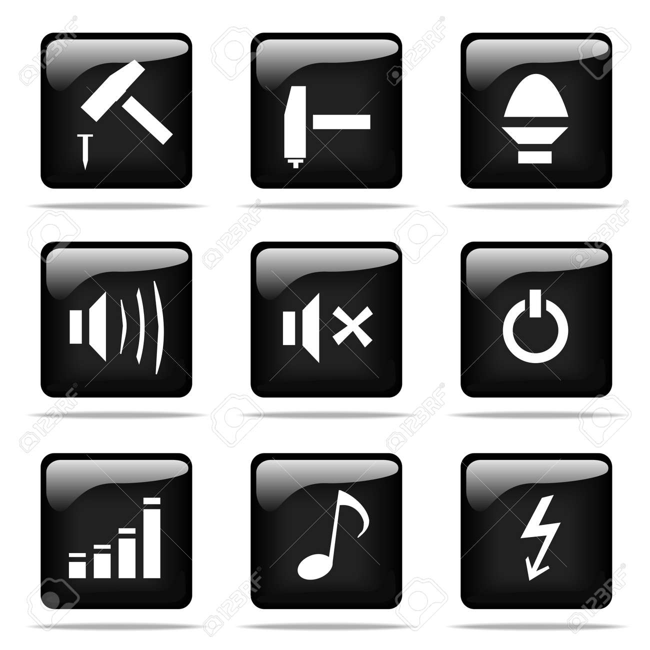 Set of glossy buttons with icons. Black and white series. Stock Photo - 3251821