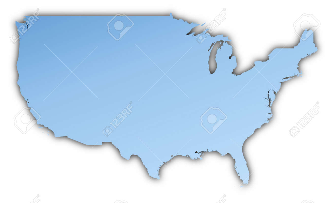 United States Map Light Blue Map With Shadow High Resolution - Us map high resolution